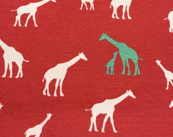 Giraffe Family - coral - Birch 100% organic cotton knit