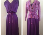 ON SALE 1970s Purple Disco Fever Dress With Striped Jacket