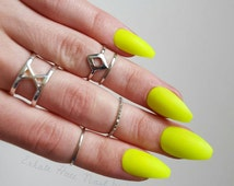 Neon Yellow Lime Matte/Glossy Fake Press On Nails - Stiletto, Oval, Square, Coffin/Ballerina