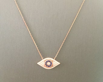 Dome Evil Eye Necklace-Rose Gold