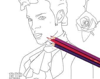 "In Honor of Prince - 8"" x 10"" coloring page"