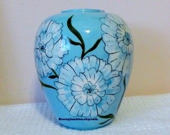 Vase, Pretty Robins Egg Blue with Flowers, Wyant Hand Painted Ceramic Vase, Folk Art, Primitive, Kitsch, Home Decor ~ BreezyJunction.ets.com
