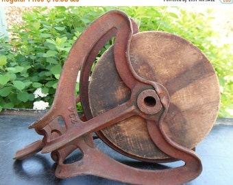 ON SALE Vintage Barn Pulley Large Antique Primitive Nautical Block And Tackle Wooden And Cast Iron Pulley Salvaged Industrial Cottage Chic