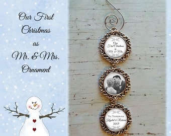 SALE! Our First Christmas as Mr. & Mrs. Personalized Ornament  - Christmas Ornament - Photo Ornament- Cyber Monday