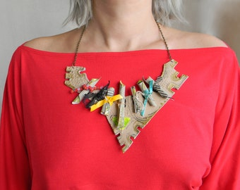 Leather bib necklace Bold chunky necklace Big artisan necklace, Abstract-Modern-Funky necklace, Contemporary jewelry, Hand painted jewellery