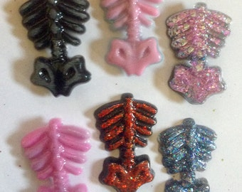 Glitter skeleton torso resin brooch creepy cute psychobilly