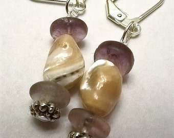 Natural Shell and Fluorite Leverback Earrings