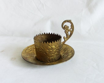 All brass Turkish coffee CUP holder sleeve with serrated rim & saucer tray. Ornate floral metal etching, home decor, folk art, etched flower