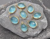 10   cz crystal charm bezel topaz blue bezel gold plated light blue faceted oval 20mm pendants gold plated supplies wholesale