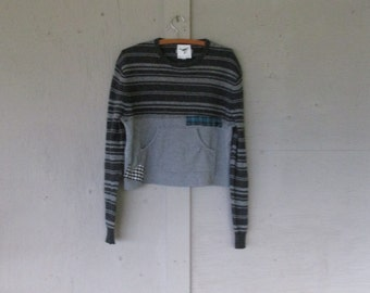 upcycled wool sweater Boho indie clothing cropped gray sweater Large Artsy Romantic winter sweater Funky chic sweater by LillieNoraDryGoods