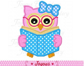 Instant Download Back To School/Owl Bookworm Applique Embroidery Design NO:2136