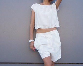 New Cotton Linen Loose Light Casual Drop Crotch Shorts / Extravagant Sexy Off White Soft Pants /Large Asymmetrical Pockets by AAKASHA A05421