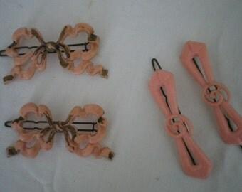 Genuine Vintage Hair Slides/Clips 2 sets Large Pink Bows