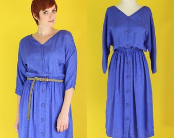 Vintage 80s Midi Dress - Violet Blue Button Front Dress - Secretary Dress - V Neck Dress - Batwing Dress - Silky Dress - Size Medium