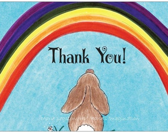 Bunny/Rainbow  Thank You Greeting Cards - Note Cards with White Envelopes.