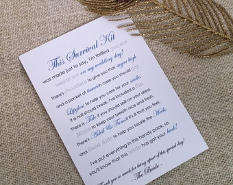 Bridesmaid Survival Kit - 5x7 - Postcard - Hard Copy