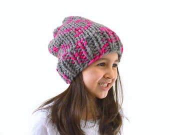 ON SALE Kids Chunky Slouchy Hat Beanie // The Newry // in Flamingo