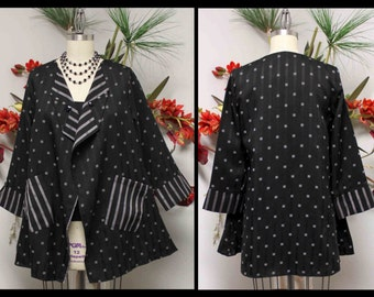 New Designer Artsy High end Jacket,Blouse. Top Notch fabric.