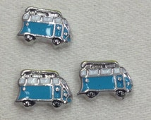Teal Van Floating Charm. Free Shipping!