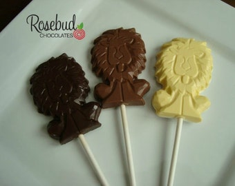 12 Chocolate Lion Lollipop Favors Jungle Animal Birthday Party Candy