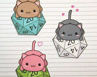 Chibi Cat on d20 Stickers and Magnets