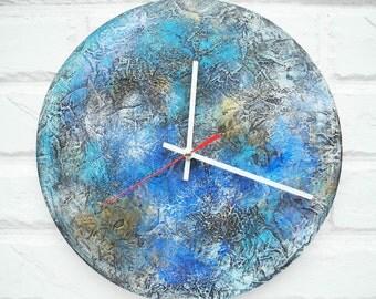 Blue Wall Clock, Modern Home Decor, wall clocks handmade, Modern Unique Turquoise Blue office wall clock