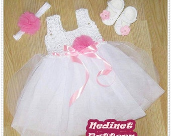 Crochet PATTERN, crochet tulle dress set pattern, baby dress pattern, crochet baby shoes pattern, 0-12 months set PATTERN