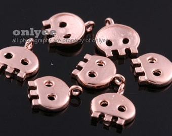 4pcs-7mmX8mmBright Rose Gold plated Brass Tiny Game setting for jewelry Charms pendant(K1060R)