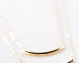 SALE Kaipo'i necklace - layered gold bar necklace, double strand necklace, delicate 14kt gold filled necklace, minimal tube necklace, hawaii