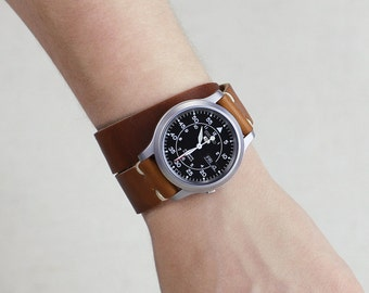 Double Wrap Leather Watch Strap // Horween Leather Band in English Tan Dublin // Polished Loop Hardware