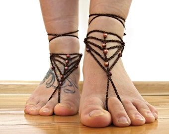 ON SALE Brown pearl sparklyBAREFOOT sandles barefoot sandal boho barefoot Gypsy Summer sexy anklet jewelry foot thongs bottomless shoes