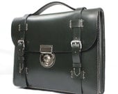Dark Green Bridle Leather Briefcase with Front Straps