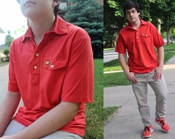 "Polo Shirt Vintage Red POLAR BEAR Logo Patch ""Jack Nicklaus"" 80s Mens Large Cotton Knit TEE Short Sleeve Golf Spring Summer Boyfriend Top"