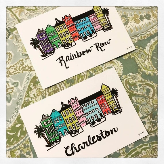 Case a schiera di rainbow charleston stampa a colori 5 x 7 for Case a schiera di charleston