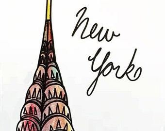 New York Fashion Illustration of Chrysler Building - NYC - Fashion Art - Fashion Sketch - Colourful Artwork - New York City Fine Art