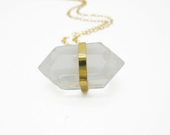 Crystal Necklace Pendant, Clear Quartz Necklace, Quartz Crystal Necklace, Quartz Jewelry, Long Necklace Gold
