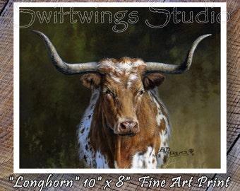 Wildlife Print - 8 x 10 Print - Longhorn Print - Western Art - Southwestern Art - Cattle Print - Longhorn Image
