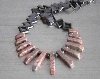 Hematite and Jasper Necklace, Gemstone Bib Jewellery, Earth Tones Necklace, Hematite Jewellery, Semi precious Stone