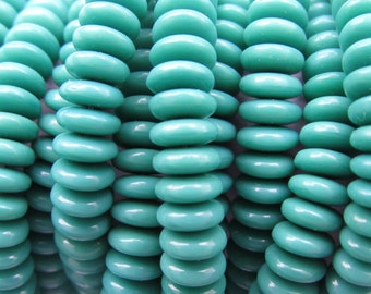 Czech GLASS BEADS 6mm Spacer TURQUOISE Blue Green Disk Rondelle 50 pc strand
