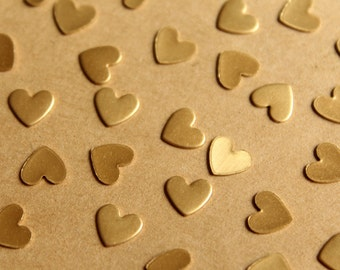 30 pc. Tiny Raw Brass Heart Stampings: 7mm by 6mm - made in USA | RB-780
