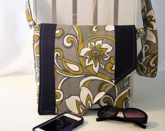 Gray, Gold, White & Black Messenger Style Canvas Purse