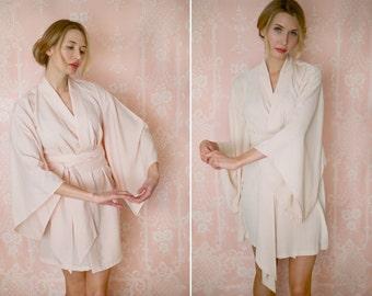 "One custom ""Noguchi"" kimono robe in faux silk crepe de chine. Faux silk kimono robe Champagne kimono robe Bridal lingerie Bridal silk robe"