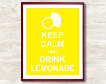 Keep Calm and Drink Lemonade - Instant Download, Typographic Print, Inspirational Quote, Keep Calm Poster, Animal Art Print, Kitchen Decor