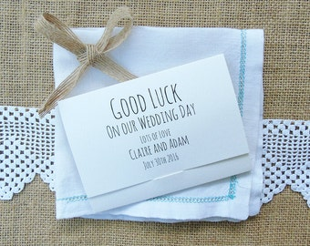 Bespoke printed Scratchcard holders for lottery wedding favours
