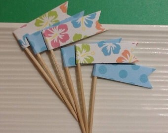 Tropical / Luau / Party Picks / Cupcake toppers / set of 24
