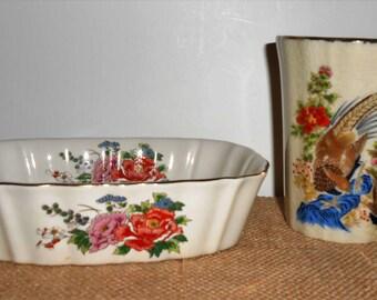 Vintage Soap Dish and Cup Set, Asian, Floral, Bird, Pheasant, Sink Set