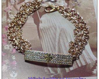 Yellow Gold Fleur de Lis Bar Bracelet Multi Chain France CZ Rhinestone Crystal Bar Charm One-of-A-Kind Handmade Assemblage WishAnWearJewelry