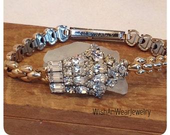 Repurposed Assemblage Art Deco Bracelet Retro Gold Filled Watchband Dress Clip Brooch Sparkly! Rhinestones Perfect Gift Wedding WishAnWear