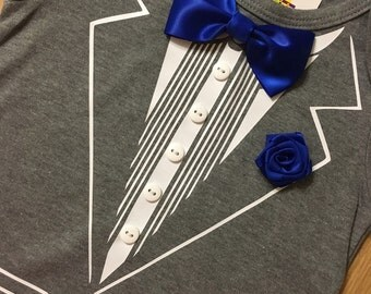 Baby Tuxedo, Gray, Onesie shirt, Wedding Baby clothes, Photo prop, blue bow tie and flower