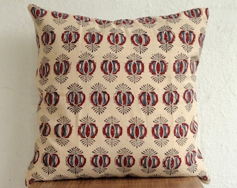 block print Pillow cover, Off white Pillow cover with red Print and Indigo Print, cotton pillow cover